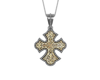 Diamond Fleur de Lis Cross Pendant Necklace in 14k White Yellow Rose Gold 0.76ct tw | made to order for you within 5-7 business days