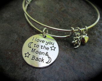 I Love You To The Moon And Back adjustable bangle bracelet with sun and moon charms Daughter Gift Mom Gift