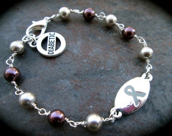 Diabetes Medical Alert Bracelet with Swarovski pearls and Diabetic charm Rosary style Gray Ribbon Bracelet Diabetes Bracelet
