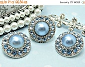 ON SALE 10 Pearl Buttons Plastic Acrylic BABY Blue Pearl Buttons W/ Baby Blue Surrounding Rhinestones Embellishments Flower Centers 25mm-336