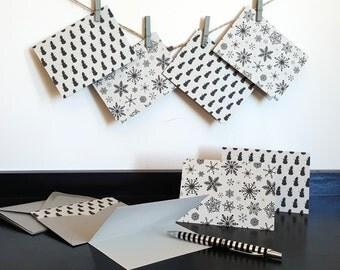 Holiday Card Set - Seasonal Card Set - Non Religious Holiday Cards - Snowflake Cards - Snowman Cards - Set of 12