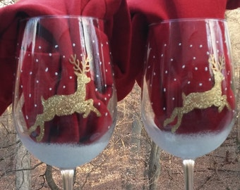 Golden Glittered reindeer hand painted wine glasses