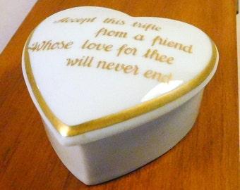 Vintage Gerold Porzellan FRIENDSHIP HEART BOX - Tettau, Bavaria - West Germany - Jewelry Trinket - Gift For Friend