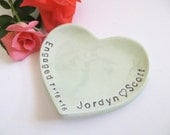 ring dish, wedding ring holder, Engagement Gift with date, Pastel Mint Green,  Made to Order