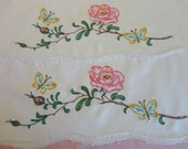 Vintage Supply - Pillowcases, Hemstitched and embroidered with a pink rose and butterflies, TO BE FINISHED, needs crochet edging, end finish