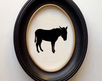 FRAMED Donkey Silhouette - Hand-cut Original Donkey Art Design:HOR-DON01