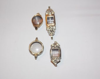 4 Vintage Gold  and Silver Ladies Watch Cases