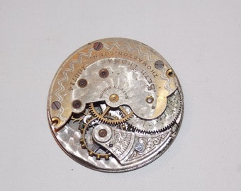 Antique 34mm Etched Pocket Watch Movement