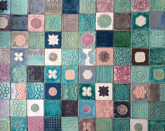 Grey and turquoise tiles, unusual tiles, handmade, unique