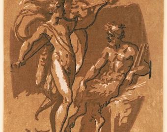 Apollo and Pan Greek Myth vintage illustration Digital Download