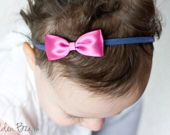 Frozen Anna inspired Bow Headband - Small Satin Pink and Blue Bow Handmade Headband - Infant to Adult Headband