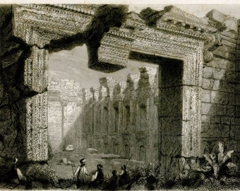 1856 Antique Print Baalbek Grand Temple Roman Architecture Black and White Engraving