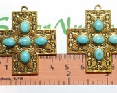 2 pcs per pack 43mm Square Cross Pendant with Turquoise Antique Gold Lead Free Pewter