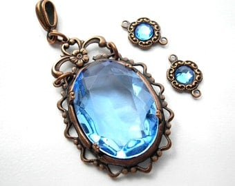 Light Sapphire Blue Glass Jewel Pendant with Matching Connectors in Antiqued Copper