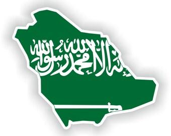 Saudi Arabia Map Flag Silhouette Sticker for Laptop Book Fridge Guitar Motorcycle Helmet ToolBox Door PC Boat