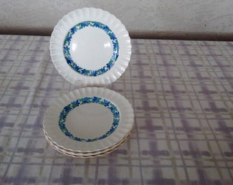 "Vintage Spode Valencia, Blue/Green with White Background, 10 1/4"" Dinner Plate, China"