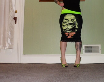 Classic Horror - Creature From The Black Lagoon - On A Black Pencil Skirt