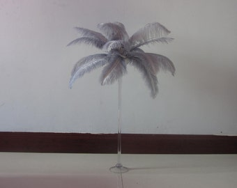 100 feathers Silver Ostrich Feather Plume for Wedding centerpieces,