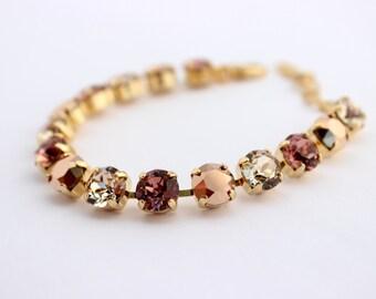 Swarovski Bracelet, rose pink bracelet, rhinestone bracelet, tennis bracelet, rose gold bracelet, bridesmaid bracelet,light silk wedding S02