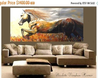 ORIGINAL Custom  Made2order XXLarge   gallery wrap canvas-Contemporary Oil Abstract  Horse painting by Nicolette Vaughan Horner Made2order