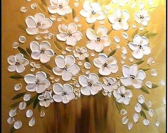 HUGE SIZE  3ft by 3ft ORIGINAL oil/acrylic Impasto  painting landscape floral  by Nicolette Vaughan Horner
