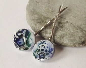 Ceramic Pottery Lacy Hair Grip Set- Hair Clip - Bobby Pin - Set of Two - Lace Texture - Blue Green