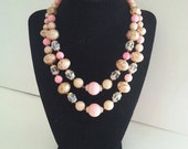 NOW ON SALE Vintage Pink 2 Strand Necklace 1950s Retro Rockabilly Old Hollywood Regency Mid Century Collectible Vintage Jewelry