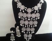 Huge White Beaded Long Bib Necklace ** White Enamel Waterfall Necklace **