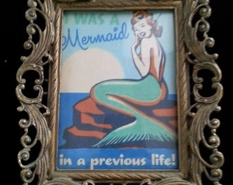 Now On Sale I Was A Mermaid Picture ** Antique Art Deco Ornate Frame ** Collectible Vintage Home Decor 1940's