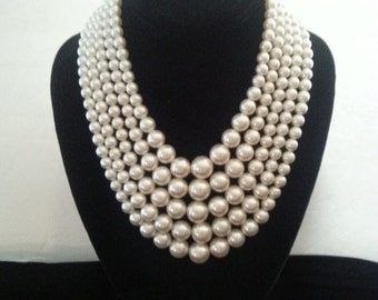 Now On Sale Vintage Faux Pearl Bib Necklace * 5 Strand * Mad Men Mod * Hollywood Regency Mid Century Jewelry