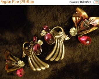 Now On Sale Set of 2 Vintage 1980's Chunky Earrings Big & Bold Pink Purple Rhinestone Jewelry Retro Rockabilly Glamour Girl Style Accessorie