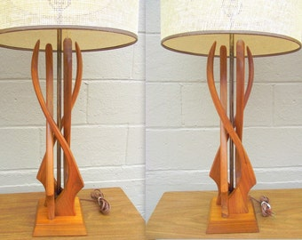 Vintage teak lamp | Etsy