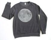 MOON navy heather SWEATSHIRT super soft UNISEX sizing xs-xl full moon crewneck sweatshirt