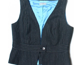 Vintage 90s Sticky Fingers Grey Virgin Wool Blend Tailored Waistcoat UK 14 US 12