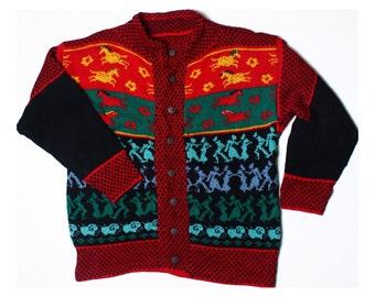 Vintage 80s Tribal Native Indian Multi Oversized Cardigan UK 18 US 16