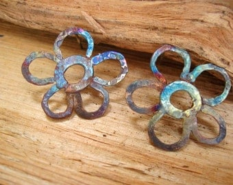 """Large Handcrafted Boho """"Primitive Flower"""" Rustic Fire Painted Copper Stud Post Earrings"""