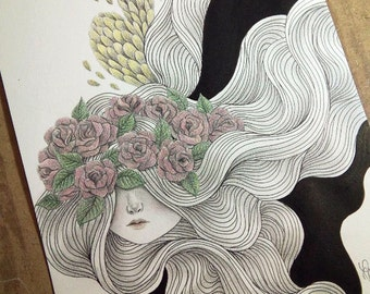 Original Surreal Pen and Pencil Art of a Spirit, Black Ink and Colored Pencils Drawing, Decorative Wall Art