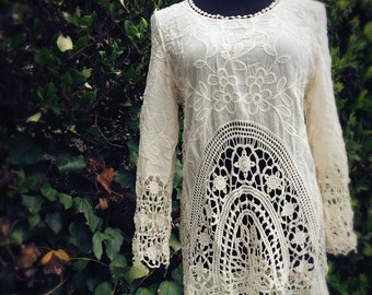 Bohemian Embroidered Lace Tunic Top, Boho style crochet lace pullover, One size fits all, XS Small Medium, color in ivory