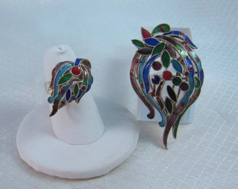 Bali Asian Enameled Silver Flame Brooch With Matching Ring Set