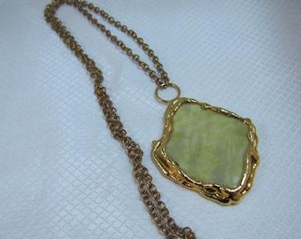 1980's Dansk Smykkekunst Denmark Yellow Aventurine Pendant Necklace