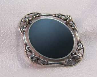 Vintage Onyx and Sterling Mourning Picture Frame Brooch