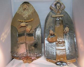 Juadiac Ceramic Folk Art Wall Plaques, Rabbi and Wife Wall Plaque