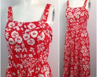 Vintage 1980s Bright Red & White Floral Print Sleeveless Summer Dress / Women's Medium / 80s Circle Skirt Shelf Bust Rockabilly