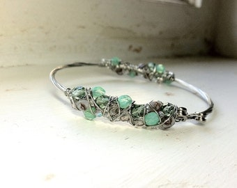 Lavender Mint Recycled GUITAR STRING BANGLE Bracelet- Wire Wrapped, Eco-Friendly. Bright Glass Beads, Electric String, Silver Finish.