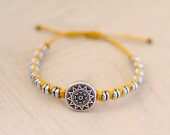 Aztec Sun Disc Bracelet - Hemp Bracelet - Hemp Jewelry
