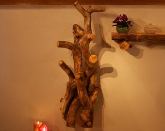 Rustic coat tree - Wall sculpture - Tree sculpture - Hat rack