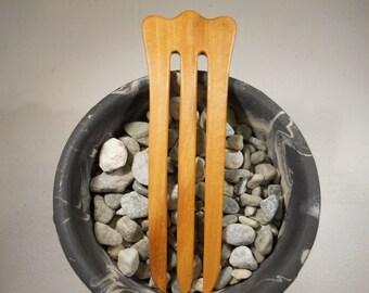 3 prong Olive wood hair fork