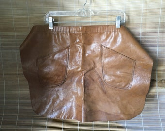 Vintage Brown Leather Half Apron Leather Adjustable Straps