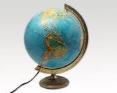 Vintage Globe Lamp-  1970s Atlas Lamp - Mid Century - Industrial Lighting