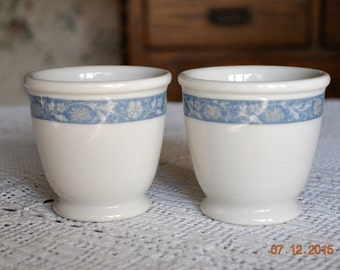 2 - Syracuse Blue /Gray Flower Band Custard Dishes